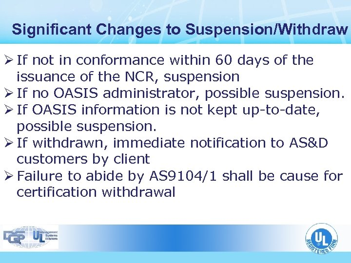 Significant Changes to Suspension/Withdraw Ø If not in conformance within 60 days of the