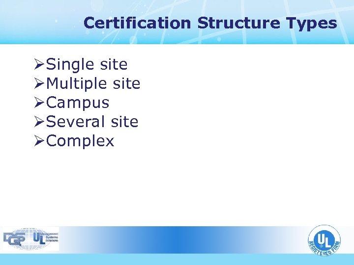 Certification Structure Types ØSingle site ØMultiple site ØCampus ØSeveral site ØComplex