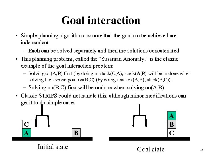 Goal interaction • Simple planning algorithms assume that the goals to be achieved are