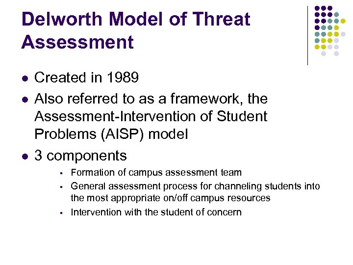 Delworth Model of Threat Assessment l l l Created in 1989 Also referred to