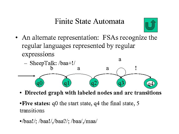 Finite State Automata • An alternate representation: FSAs recognize the regular languages represented by