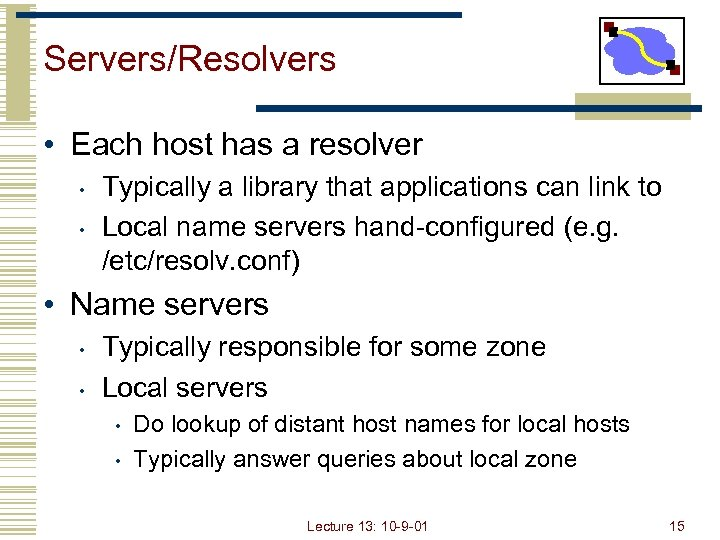 Servers/Resolvers • Each host has a resolver • • Typically a library that applications