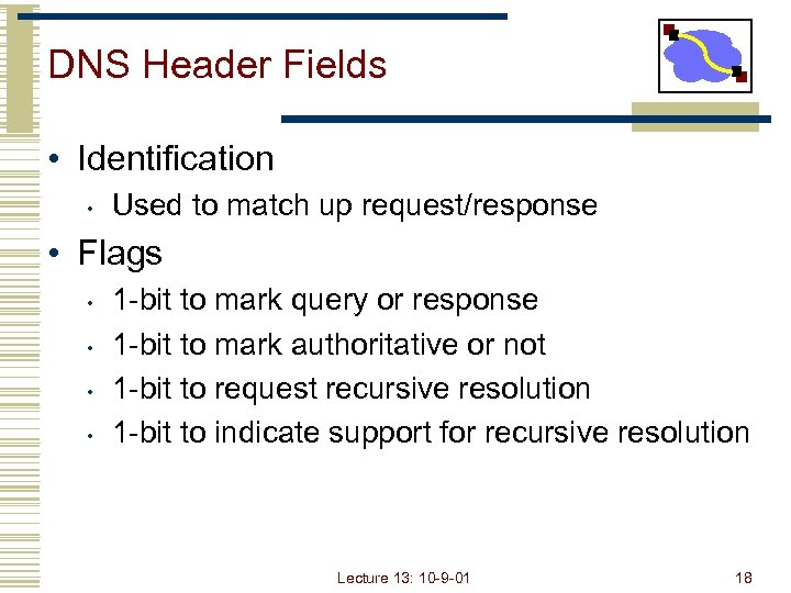 DNS Header Fields • Identification • Used to match up request/response • Flags •