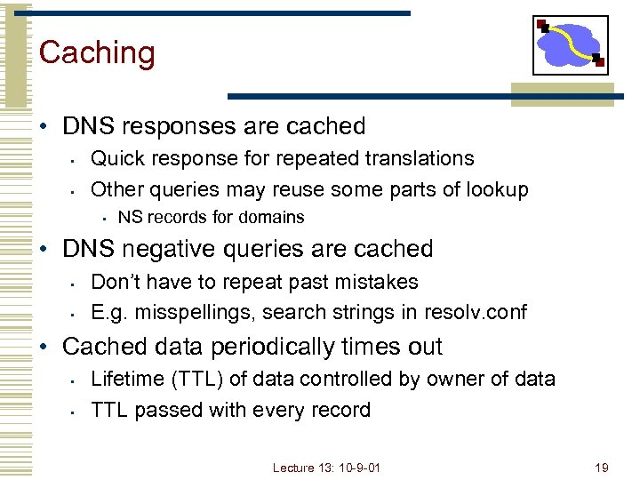 Caching • DNS responses are cached • • Quick response for repeated translations Other