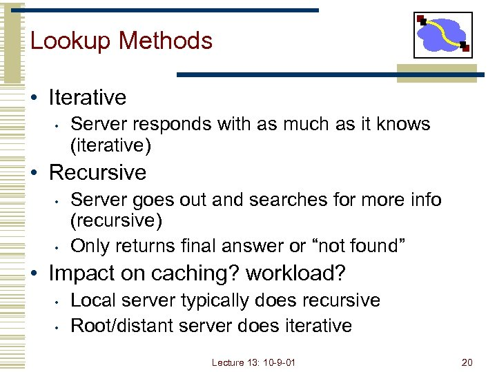 Lookup Methods • Iterative • Server responds with as much as it knows (iterative)