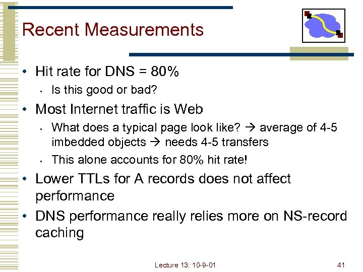 Recent Measurements • Hit rate for DNS = 80% • Is this good or