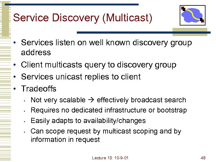 Service Discovery (Multicast) • Services listen on well known discovery group address • Client
