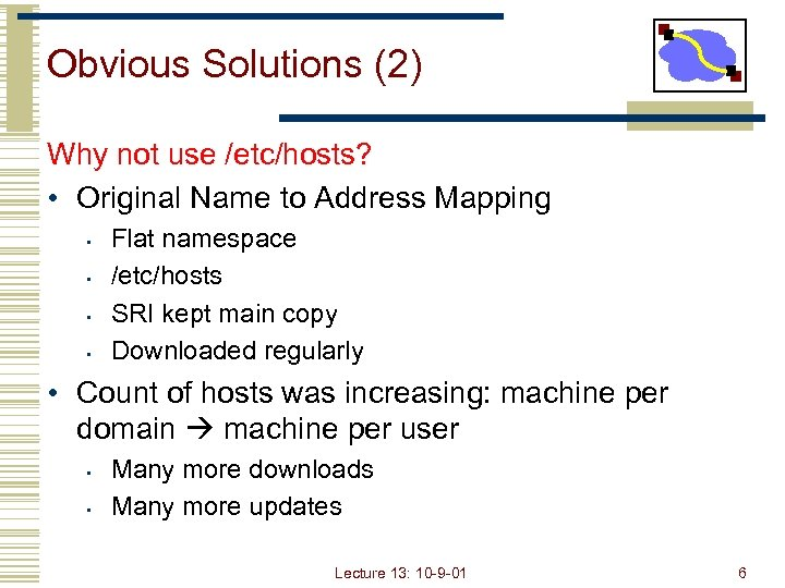 Obvious Solutions (2) Why not use /etc/hosts? • Original Name to Address Mapping •