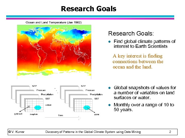 Research Goals: l Find global climate patterns of interest to Earth Scientists A key