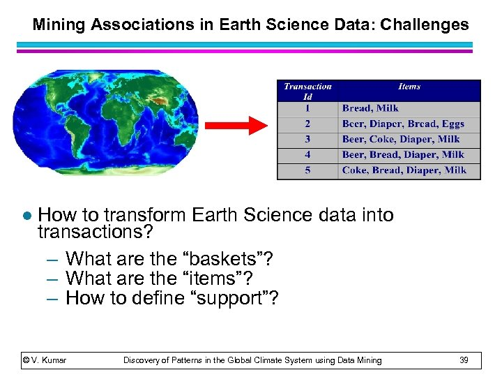 Mining Associations in Earth Science Data: Challenges l How to transform Earth Science data