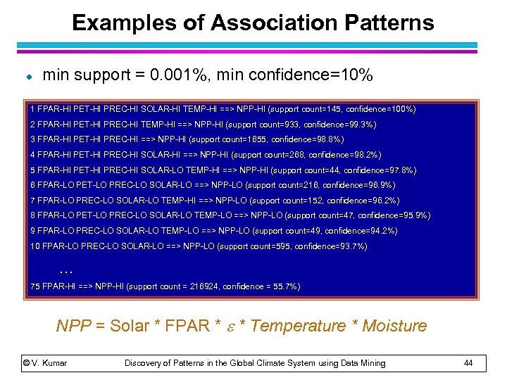 Examples of Association Patterns l min support = 0. 001%, min confidence=10% 1 FPAR-HI
