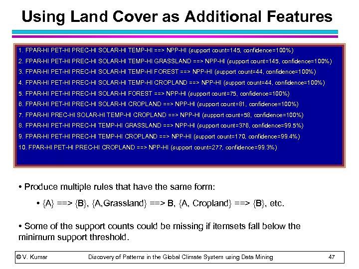 Using Land Cover as Additional Features 1. FPAR-HI PET-HI PREC-HI SOLAR-HI TEMP-HI ==> NPP-HI