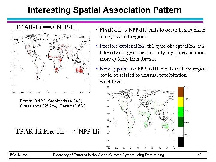 Interesting Spatial Association Pattern FPAR-Hi ==> NPP-Hi • FPAR-Hi NPP-Hi tends to occur in