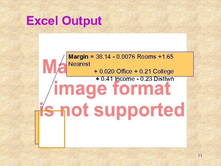 Excel Output This is the sample regression equation (sometimes called the prediction equation) Margin