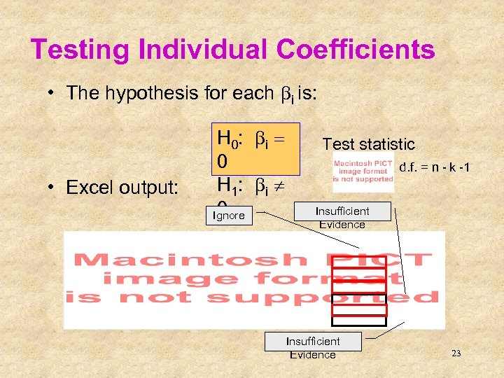 Testing Individual Coefficients • The hypothesis for each bi is: • Excel output: H