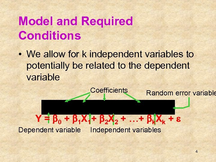 Model and Required Conditions • We allow for k independent variables to potentially be