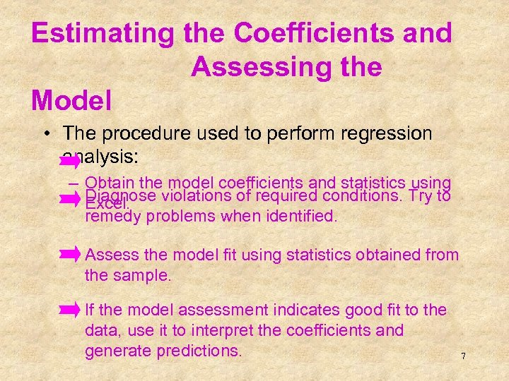 Estimating the Coefficients and Assessing the Model • The procedure used to perform regression