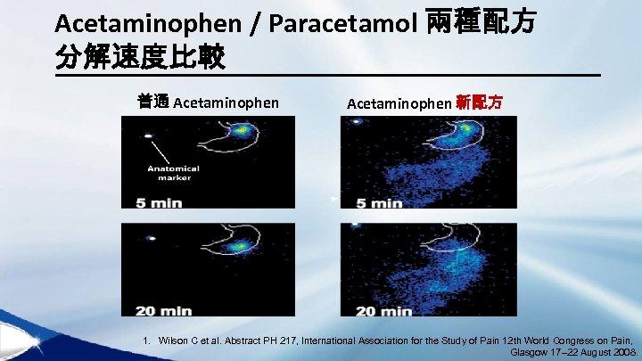 Acetaminophen / Paracetamol 兩種配方 分解速度比較 普通 Acetaminophen 新配方 1. Wilson C et al. Abstract