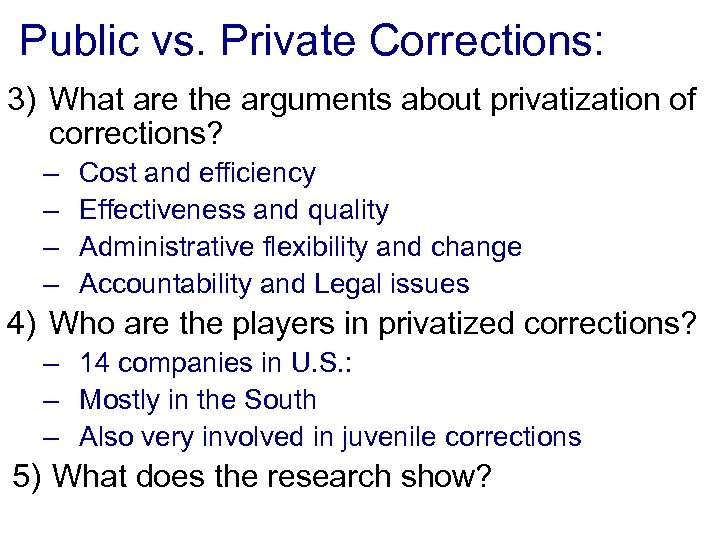 corrections and privatization paper Corrections accreditation and privatization in recent times, the field of corrections has been seeking to address quite a number of emerging issues as a result of a wide range of catalysts including but of course not limited to privatization and accreditation.