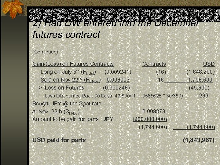 2) Had DW entered into the December futures contract (Continued) Gain/(Loss) on Futures Contracts