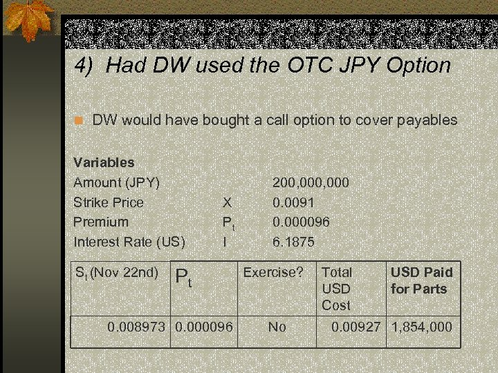 4) Had DW used the OTC JPY Option n DW would have bought a
