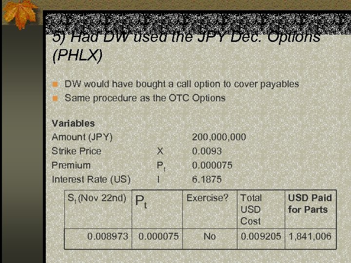 5) Had DW used the JPY Dec. Options (PHLX) n DW would have bought