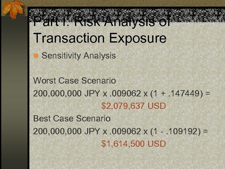 Part I: Risk Analysis of Transaction Exposure n Sensitivity Analysis Worst Case Scenario 200,