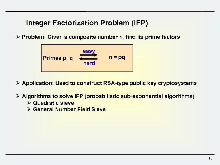 Integer Factorization Problem (IFP) Ø Problem: Given a composite number n, find its prime