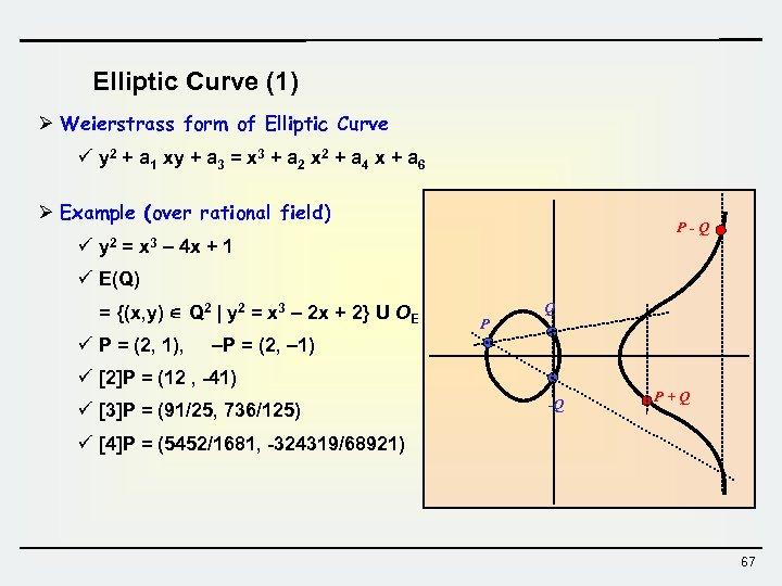 Elliptic Curve (1) Ø Weierstrass form of Elliptic Curve ü y 2 + a