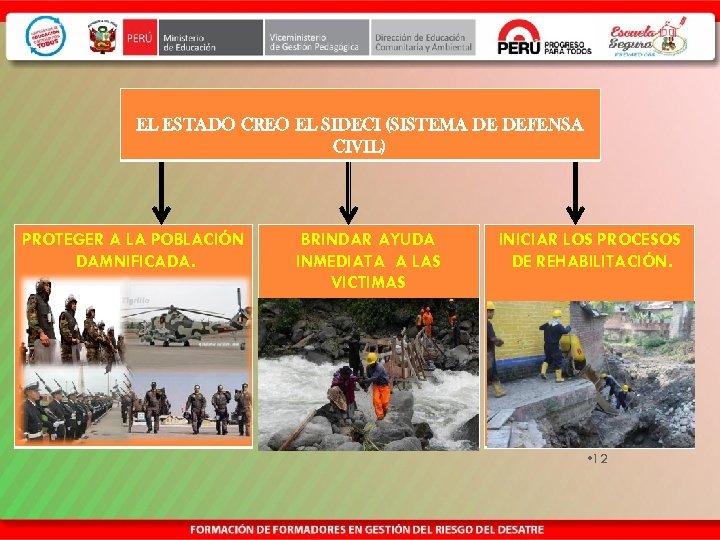 EL ESTADO CREO EL SIDECI (SISTEMA DE DEFENSA CIVIL) PROTEGER A LA POBLACIÓN DAMNIFICADA.