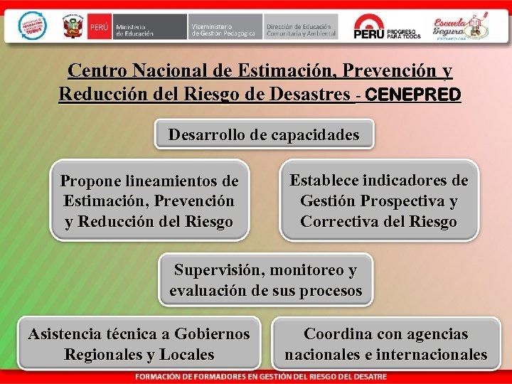 Centro Nacional de Estimación, Prevención y Reducción del Riesgo de Desastres - CENEPRED Desarrollo