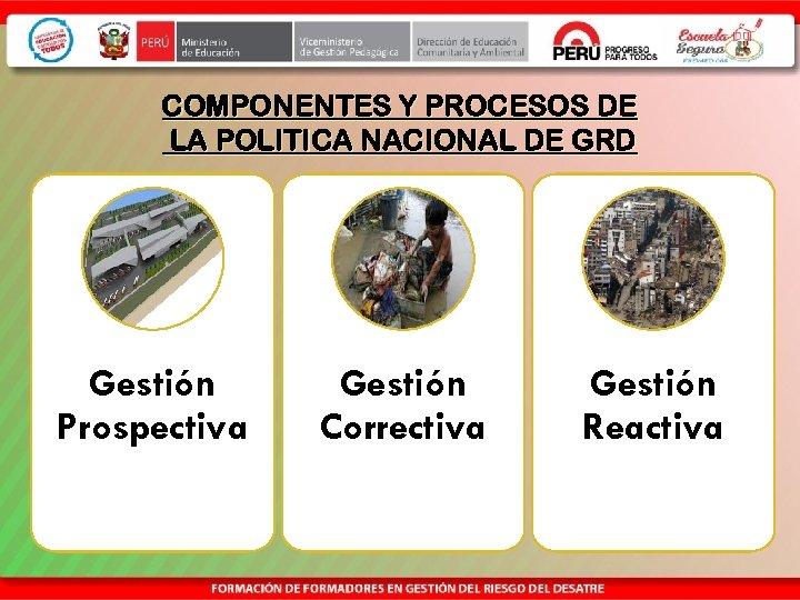 COMPONENTES Y PROCESOS DE LA POLITICA NACIONAL DE GRD Gestión Prospectiva Gestión Correctiva Gestión