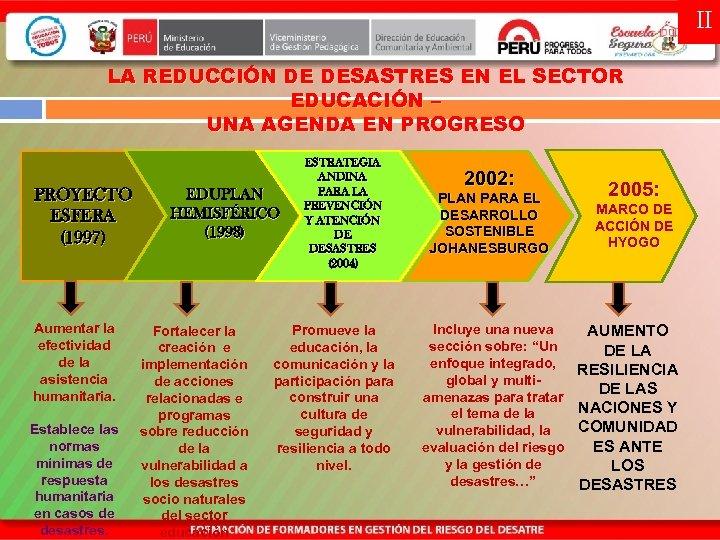 II LA REDUCCIÓN DE DESASTRES EN EL SECTOR EDUCACIÓN – UNA AGENDA EN PROGRESO