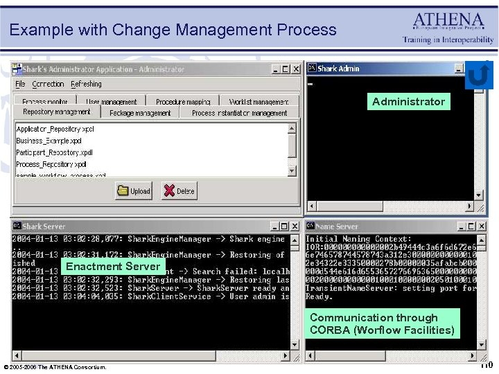 Example with Change Management Process Administrator Enactment Server Communication through CORBA (Worflow Facilities) ©