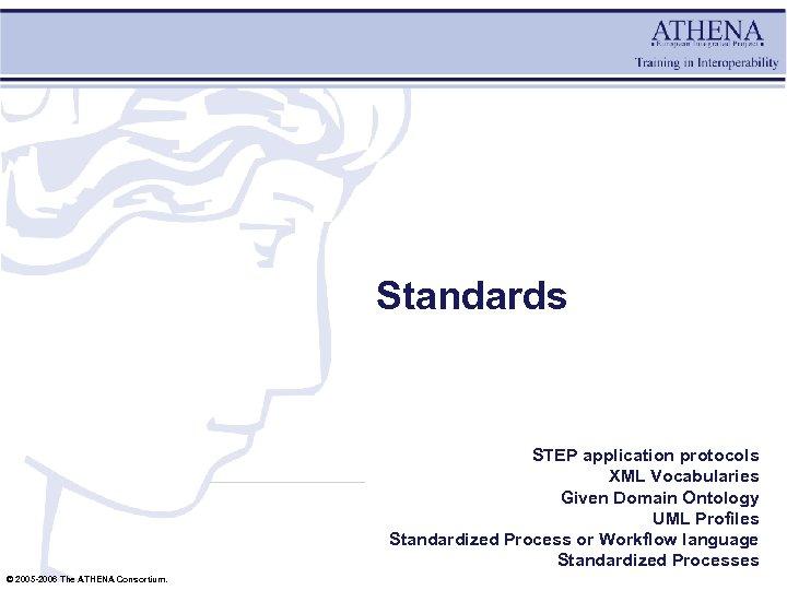 Standards STEP application protocols XML Vocabularies Given Domain Ontology UML Profiles Standardized Process or