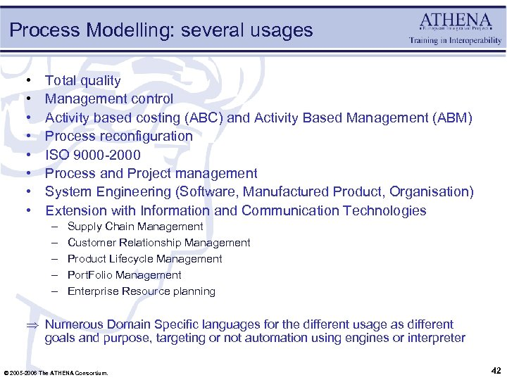 Process Modelling: several usages • • Total quality Management control Activity based costing (ABC)