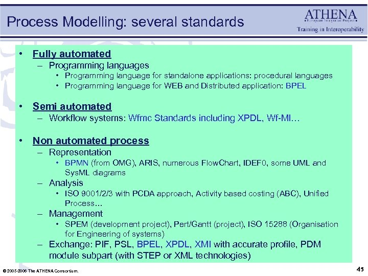 Process Modelling: several standards • Fully automated – Programming languages • Programming language for