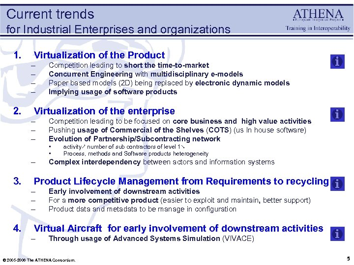 Current trends for Industrial Enterprises and organizations 1. Virtualization of the Product – –