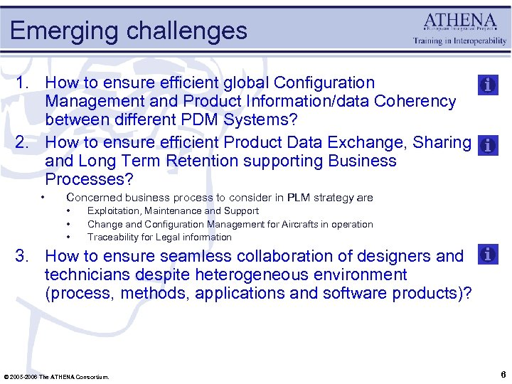 Emerging challenges 1. How to ensure efficient global Configuration Management and Product Information/data Coherency