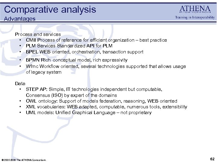 Comparative analysis Advantages Process and services • CMII Process of reference for efficient organization