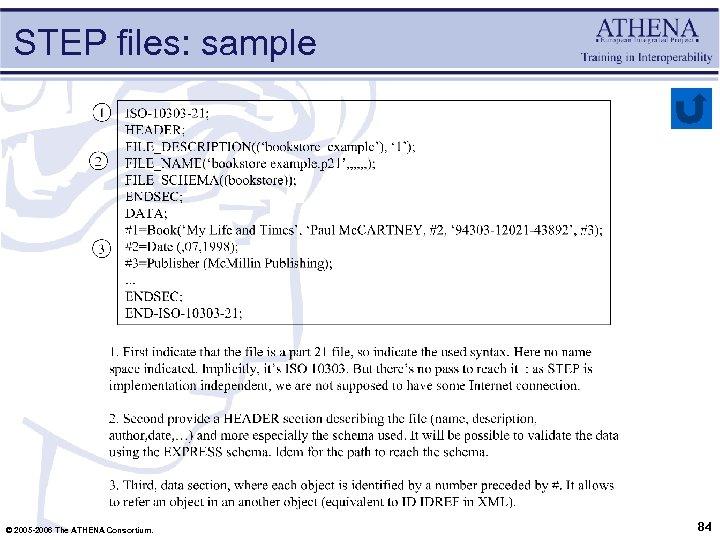 STEP files: sample © 2005 -2006 The ATHENA Consortium. 84