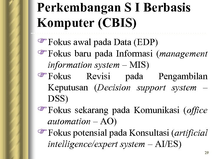 Perkembangan S I Berbasis Komputer (CBIS) FFokus awal pada Data (EDP) FFokus baru pada