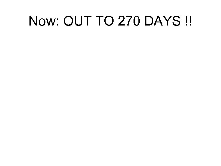 Now: OUT TO 270 DAYS !!