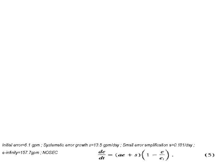 Initial error=6. 1 gpm ; Systematic error growth s=13. 5 gpm/day ; Small error