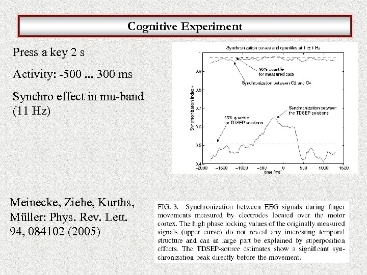 Cognitive Experiment Press a key 2 s Activity: -500. . . 300 ms Synchro