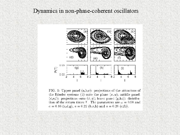 Dynamics in non-phase-coherent oscillators