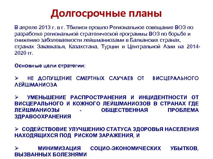 Долгосрочные планы В апреле 2013 г. в г. Тбилиси прошло Региональное совещание ВОЗ по