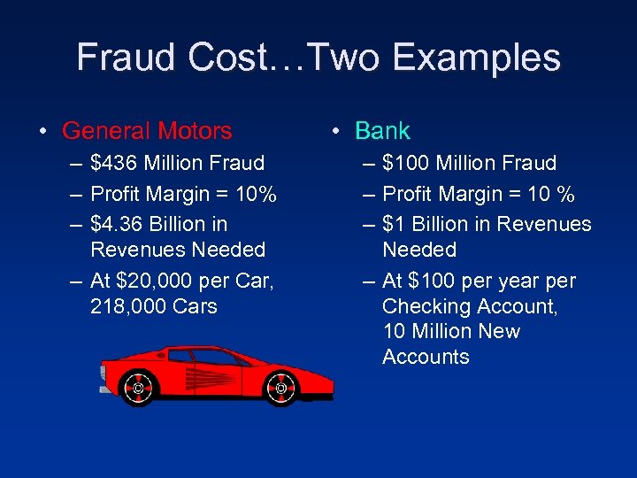 Fraud Cost…Two Examples • General Motors – $436 Million Fraud – Profit Margin =