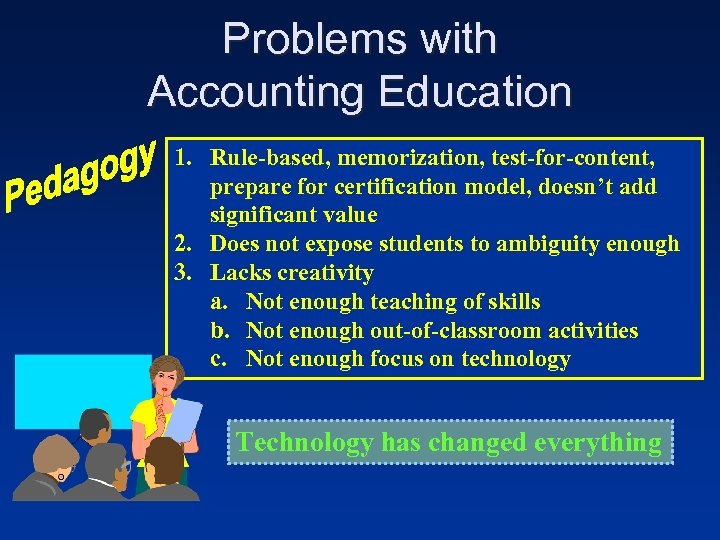 Problems with Accounting Education 1. Rule-based, memorization, test-for-content, prepare for certification model, doesn't add