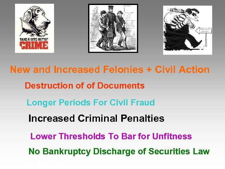 New and Increased Felonies + Civil Action Destruction of of Documents Longer Periods For